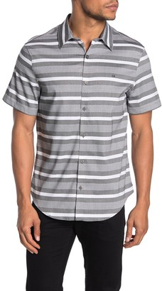 Calvin Klein Short Sleeve Refined Chambray Stripe Print Regular Fit Shirt