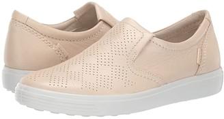Ecco Soft 7 Casual Slip-On (Vanilla Metallic Cow Leather) Women's Slip on Shoes