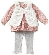 Starting Out Baby Girls 3-24 Months Lace Dress, Faux-Fur Vest, & Leggings 3-Piece Set