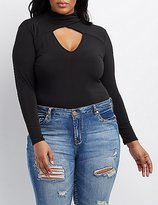 Charlotte Russe Plus Size Wrapped Mock Neck Bodysuit