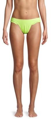 No Boundaries Juniors' Yellow Ribbed Bikini Swimsuit Bottom