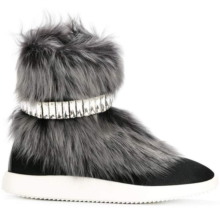 Giuseppe Zanotti Design Marley fur and crystal hi-top sneakers