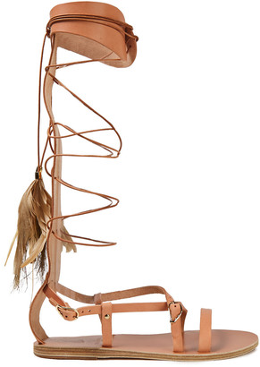Ancient Greek Sandals + Caravana Lace-up Feather-embellished Leather Sandals