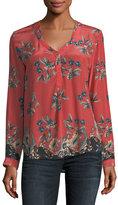 Tolani Genevia Long-Sleeve Floral-Print Silk Blouse