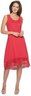 Nina Leonard Women's Lace Hem Midi Dress