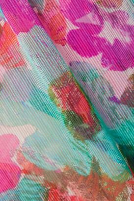 PatBO Gabi Cutout Floral-print Crepon And Stretch-jersey Halterneck Maxi Dress - Purple