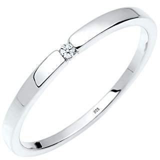Diamore Women's 925 Sterling Silver 0.02 ct Xilion Cut White Diamond Engagement Ring of Size Q