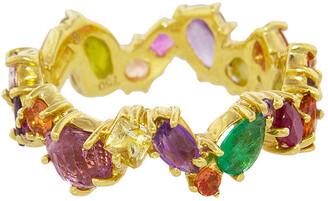 Sharon Khazzam Multicolored Gemstone Zig Zag Yellow Gold Ring