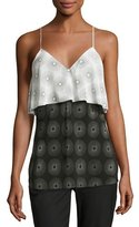 Diane von Furstenberg Sunburst-Print Silk Popover Camisole, Black/White