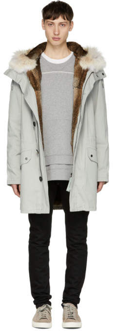 Yves Salomon Grey Fur-Lined Long Military Parka