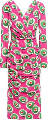 Dolce & Gabbana Wrap-effect Printed Stretch-silk Crepe Dress
