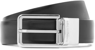 Ermenegildo Zegna 3cm Black And Dark-Brown Reversible Leather Belt