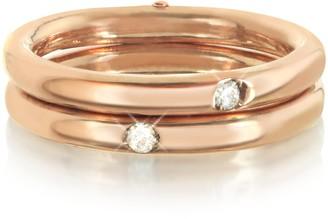 Bernard Delettrez 9K Pink Gold Double Secret Ring w/Diamonds