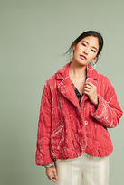 Anthropologie Quilted Velvet Puffer Coat