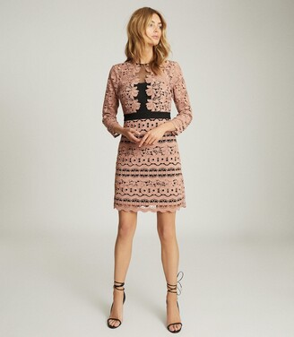 Reiss Lenny - Lace Mini Dress in Pink
