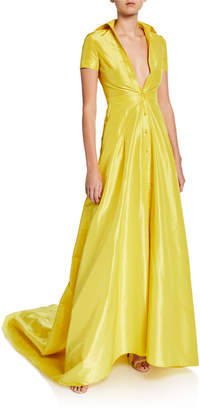 Alexis Felicity Short-Sleeve Button-Down Gown w/ Train