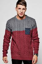 Boohoo Colour Block Cable Jumper