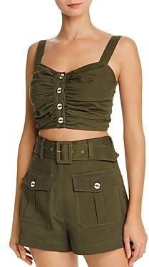 Red Carter Ruched Front Crop Top