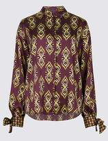 Marks and Spencer Geometric Print Long Sleeve Tie Cuff Shirt