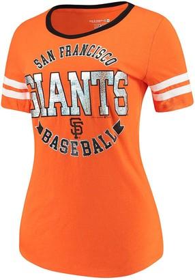 New Era Women's 5th & Ocean by Orange San Francisco Giants Slub Jersey Scoop Neck Sleeve Stripes T-Shirt