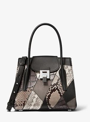 Michael Kors Bancroft Medium Patchwork Calf Leather and Snakeskin Satchel