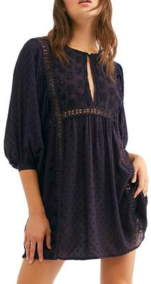 Free People Charlotte Embroidered Keyhole Tunic Top