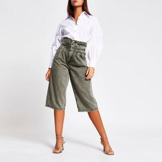 River Island Womens Khaki high rise culotte jeans