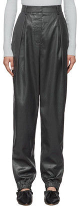 Tibi Black Liquid Drape Pleated Trousers