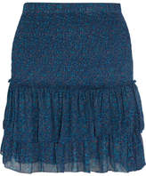 Etoile Isabel Marant Julia Shirred Printed Chiffon Mini Skirt - Blue