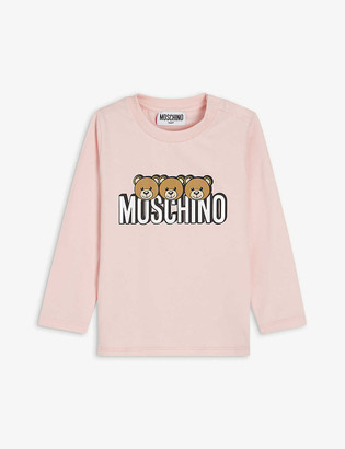 Moschino Bear-print long-sleeved cotton T-shirt 3-36 months