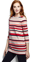 Lands' End Women's Tall Starfish Boatneck Tunic Top-Multi Color Yarn Print