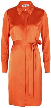 Diane von Furstenberg Zello orange satin shirt dress