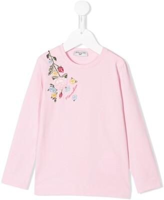 MonnaLisa embroidered rose T-shirt