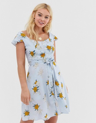 Qed London QED London floral skater dress with tie waist detail-Blue