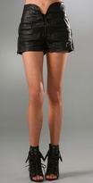 Leather Corset Shorts with Front Tie