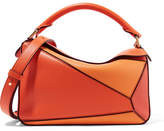 Loewe Puzzle Small Color-block Textured-leather Shoulder Bag - Orange