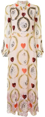 Temperley London Heart Sequin Roll-Neck Chiffon Dress