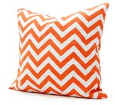 Lavievert 18 X 18 Inches Cotton Canvas Square Throw Pillow Cover with Invisible Zipper Closure, White and Orange Chevron Stripe