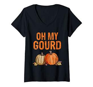 Womens Oh my Gourd Funny Thanksgiving Gift V-Neck T-Shirt