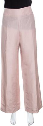 Armani Collezioni Blush Pink Linen High Waist Wide Leg Pants M