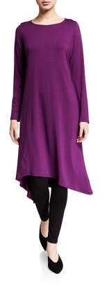 Eileen Fisher Plus Size Long-Sleeve Asymmetrical Hem Jersey Midi Dress