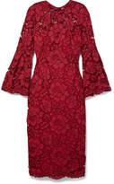 Lela Rose Grosgrain-trimmed Corded Lace Midi Dress - Claret