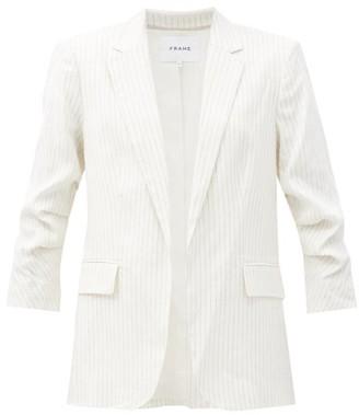 Frame Striped Linen-blend Blazer - White