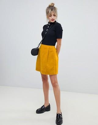 Asos Design DESIGN tailored cord mini skirt in mustard-Yellow