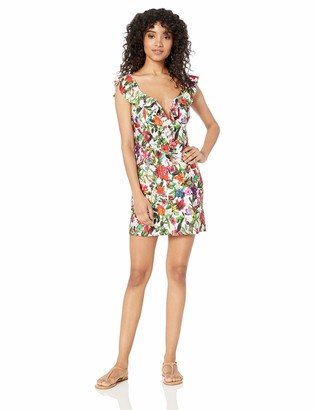 Tahari Women's Ruffle Front V Wire Swimwear Cover Up Dress