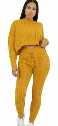 Kufo Women's Cable Knitted Crop Top 2 Piece Suit Ladies Co-Ord Loungewear Tracksuit Set (Mustard UK 10)