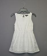 Takara White Geometric Lace A-Line Dress - Girls