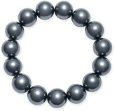 Charter Club Silver-Tone Gray Imitation Pearl Stretch Bracelet, Only at Macy's