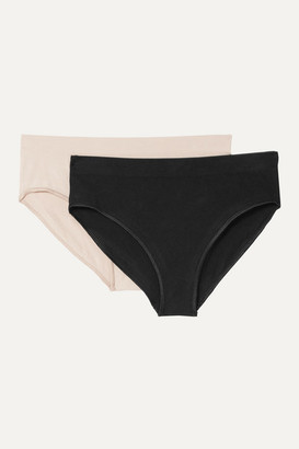 Base Range Baserange - Net Sustain Oleta Set Of Two Stretch Cotton-blend Briefs - Black