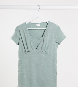 Mama Licious Mamalicious Maternity v neck t-shirt in light green marl